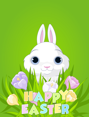 sits: A cute Easter bunny sits in the crocus bouquet Illustration