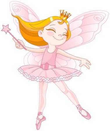 Illustration of little cute dancing fairy ballerina