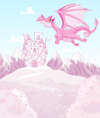 Illustratie van magische draak op prinseskasteel achtergrond Stock Illustratie