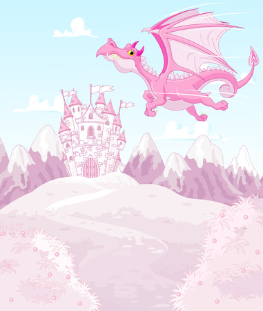 fairy tale princess: Illustration of magic dragon on princess castle background
