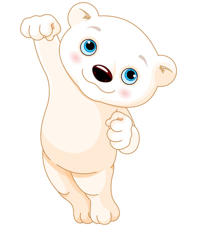 A happy cartoon polar bear jumping and smiling Illustration
