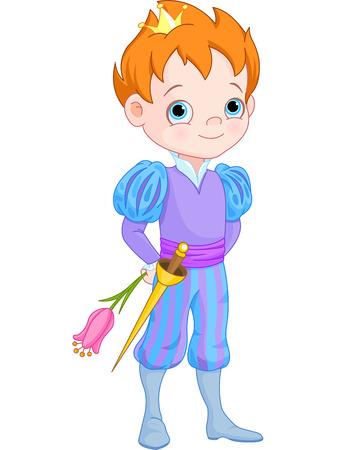 prince: Illustrazione della Cute Little Principe Tiene Fiore Vettoriali