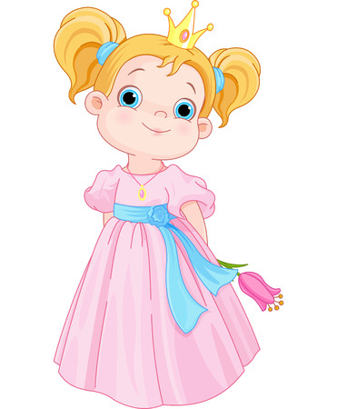 fairy princess: Illustration of Cute Little Princess Holds Flower Illustration
