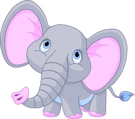 Illustratie van een kleine baby-olifantje Stock Illustratie