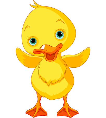 duckling: Illustration of happy duckling waving wing