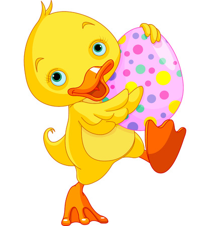 royalty free illustrations: Illustration of Easter duckling carry Egg Illustration