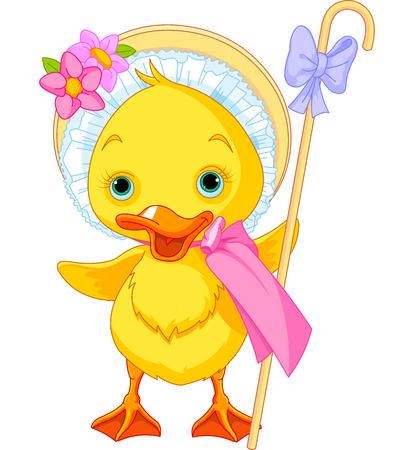Illustration of Easter Duckling with shepherdess staff Иллюстрация