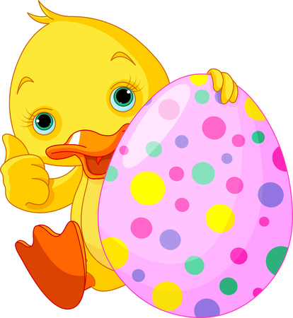 duckling: Illustration of Easter Duckling gives thumbs up Illustration
