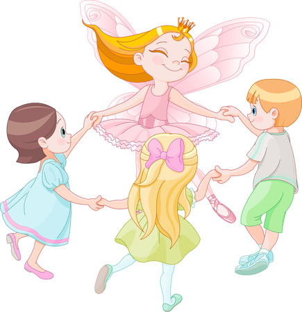 Illustration of fairy dancing with children