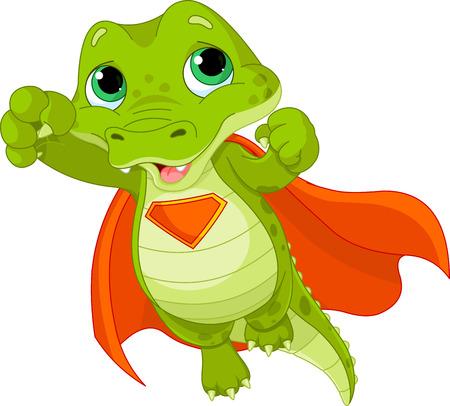 roztomilý: Ilustrace Super Hero Alligator Ilustrace