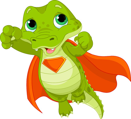 Illustration of Super Hero Alligator Illustration