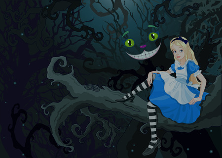 wonderland: Alice sitting on a branch on the Wonder forest