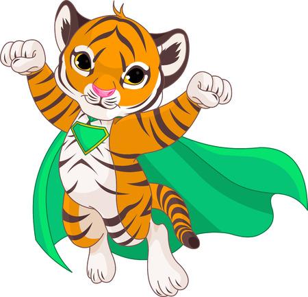 puños cerrados: Ilustración de Súper Héroe Tigre