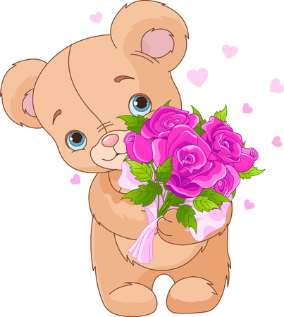 cartoon bouquet: Teddy bear giving bouquet