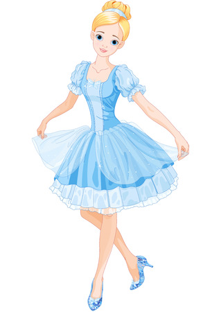 cute fairy: Illustration of Cinderella wearing crystal slippers Illustration