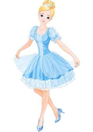 hadas caricatura: Ilustración de Cenicienta con zapatillas de cristal Vectores