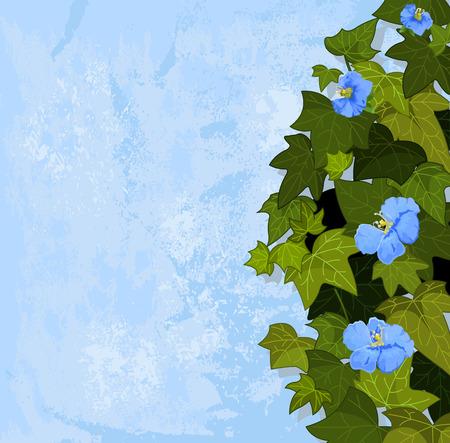 grange: Green leaves on grange background