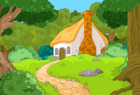 rural house: Rural Cartoon Forest Cabin Landscape