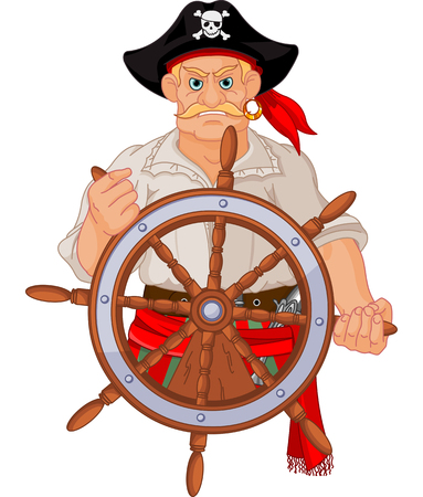 Pirate at the wheel of his ship Vector