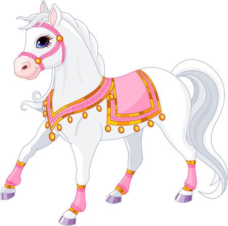 princesa: Ilustración de hermoso caballo blanco royal