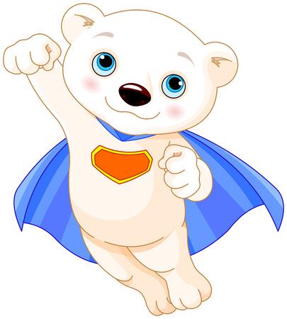 oso caricatura: Ilustraci�n de superh�roe Oso Polar