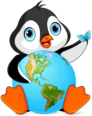 Penguin holds the Earth at Earth Day Vector