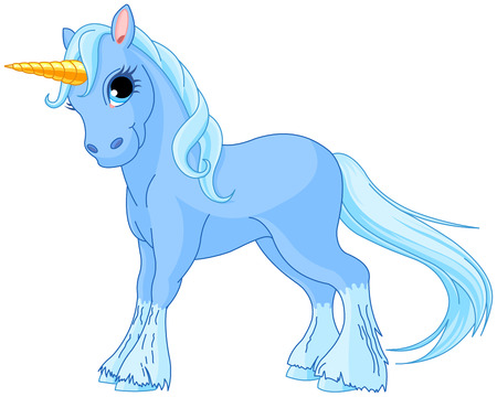 fairy  tail: Illustration of standing beautiful cute unicorn