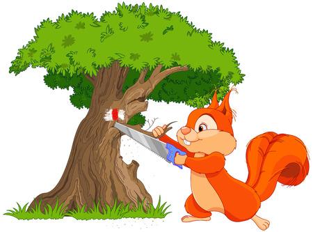 tree branch: Illustration of funny squirrel saws tree branch Illustration