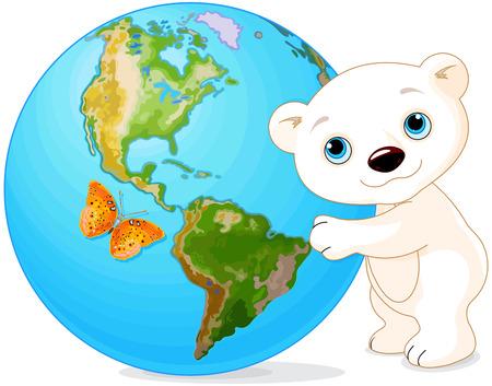 북극곰 포옹 지구의 날에 지구