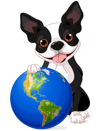 boston terrier: Boston Terrier holds the Earth at Earth Day