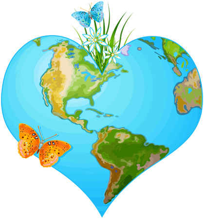 greenpeace: Illustration of earth in the form of heart