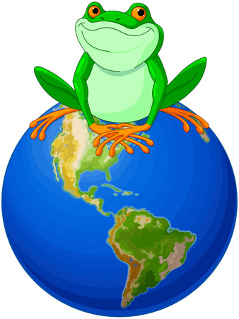green little planet earth: Frog sits on Earth at the Earth Day Illustration