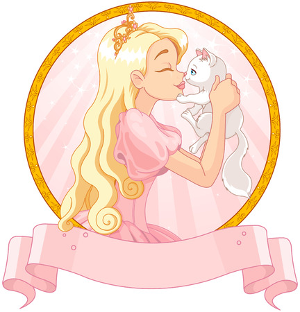 cartoon kiss: Fairytale Princess is kissing a white cat Illustration