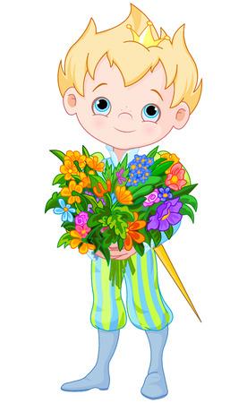 Illustration of Cute Little Prince Holds bouquet of flowers Illusztráció