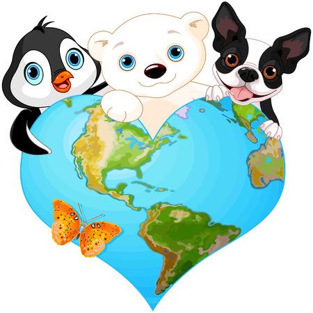 dog days: Ilustración de la tierra en forma de corazón con varios de los animales Vectores