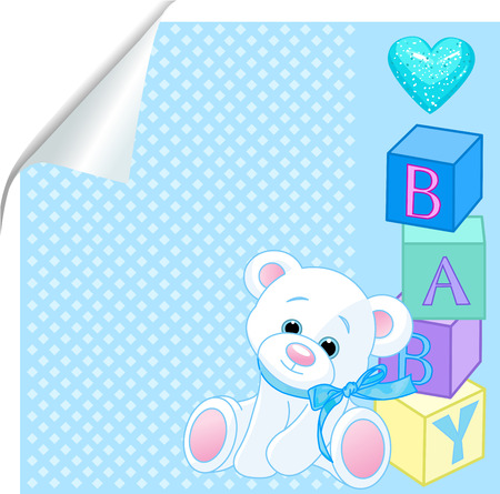 Blue pattern with Teddy Bear and word baby spelled out by blocks