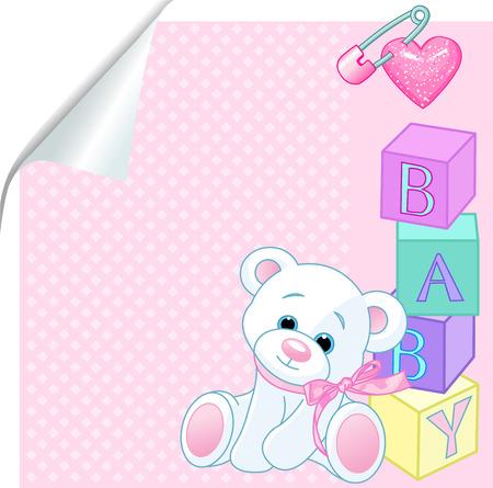 """Modelo rosado con osito de peluche y la palabra """"bebé"""" enunciados por bloques"""