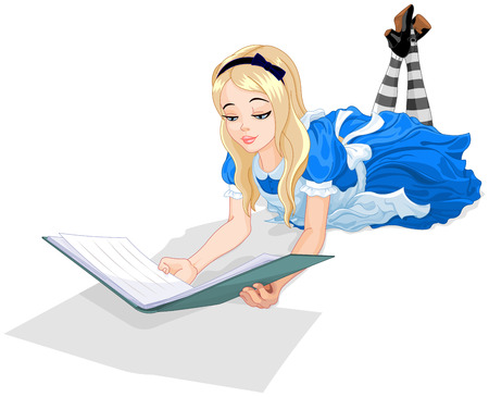 Illustration of Wonderland Alice reading a book