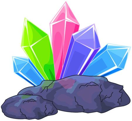 Illustratie van een multi gekleurde kwartskristal