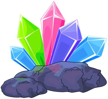 cluster: Illustration of a multi colored quartz crystal Illustration