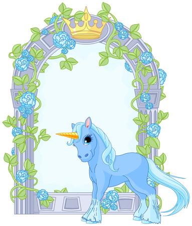 Illustration de standing belle mignon près licorne cadre de fleurs Illustration