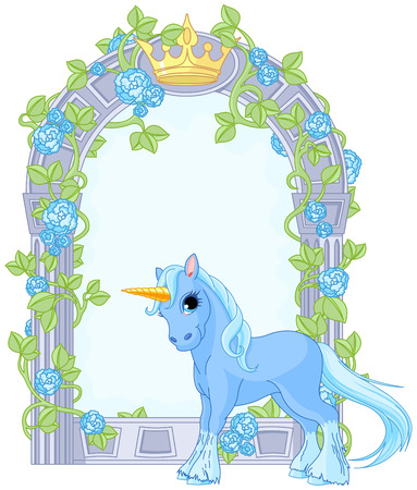 Illustration of standing beautiful cute unicorn close to flower frame Vector