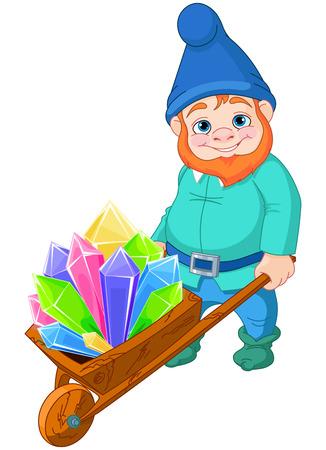 carries: Illustrazione di gnome porta una carriola piena di cristalli di quarzo Vettoriali