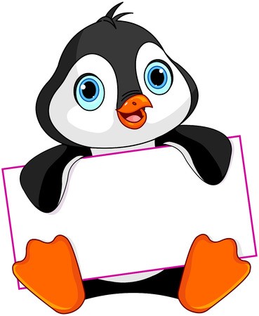 Cute Penguin holds a sign Stock Illustratie