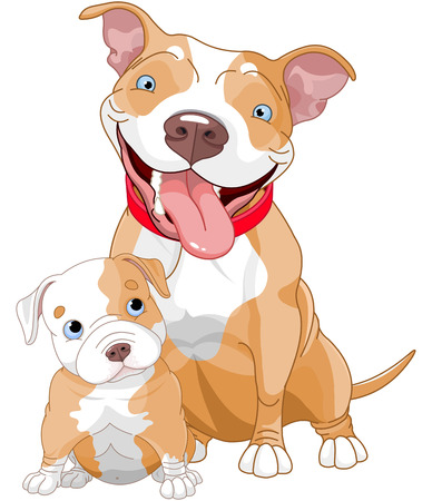 pit: Illustration of cute Pit-bull mother and cub