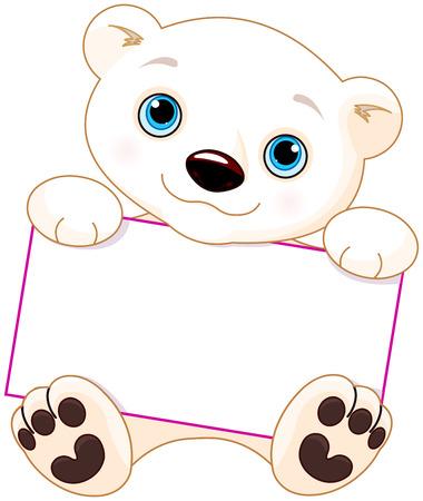 Cute Polar bear holds a sign