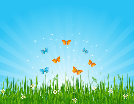 logo nature: Seamless illustration of grassy field and butterflies