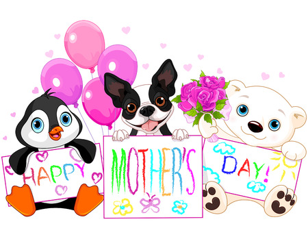 Illustration of cute animal card for mother day Vector