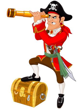 Illustratie van cartoon piraat Stock Illustratie