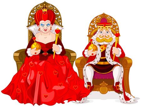 trono: Ilustración de la reina y el rey